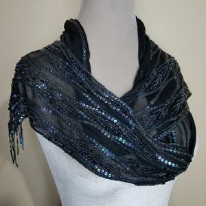 Black Silk Iridescent Peacock Embellished Scarf